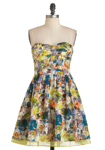 Painted Lady Dress - Multi, Floral, Fit & Flare, Strapless, Mid-length, Daytime Party, Sweetheart