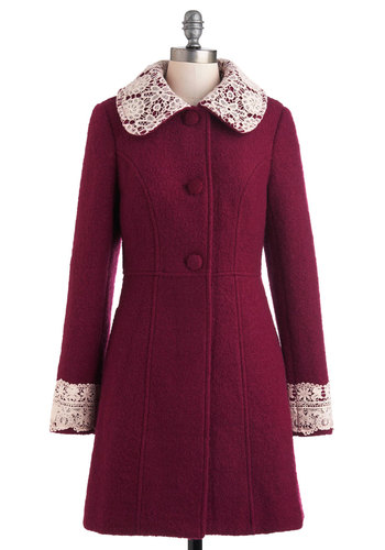 Mulberry Scones Coat by Miss Patina - Long, Red, Tan / Cream, Solid, Buttons, Lace, Long Sleeve, 3, Holiday Party