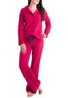 Leisure Cute Pajamas - Red, Solid, Trim, Jersey, Cotton, Blue, Buttons