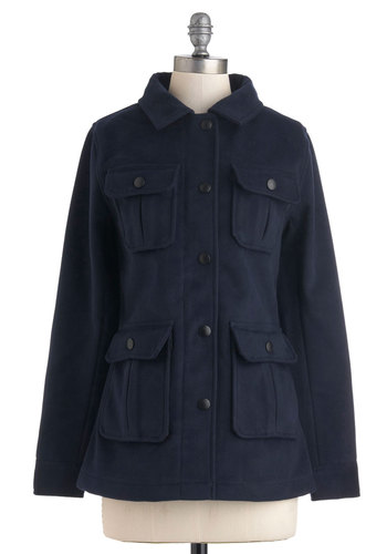 Seaside Sights Coat - Mid-length, Blue, Solid, Buttons, Pockets, Long Sleeve, 3, Nautical