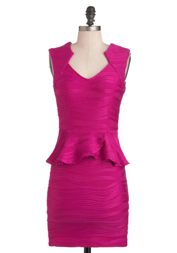 Going to Great Wavelengths Dress - Short, Pink, Solid, Party, Peplum, Sleeveless