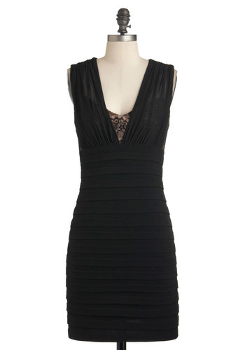 Tier She Is Dress by Max and Cleo - Black, Solid, Tiered, Party, Film Noir, Luxe, Sheath / Shift, Sleeveless, Short, Cocktail, Girls Night Out, Bodycon / Bandage, V Neck, Holiday Party