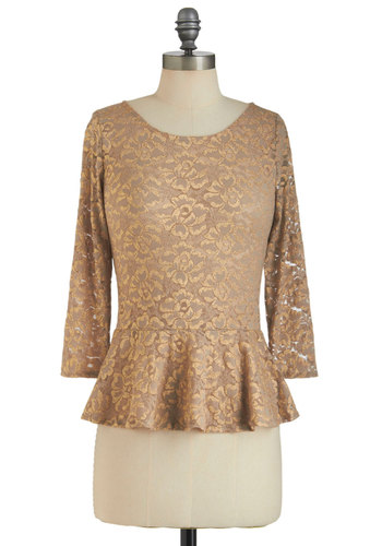 Gold-Fashioned Top - Mid-length, Gold, Solid, Lace, Party, Peplum, Long Sleeve, Holiday Party, Sheer