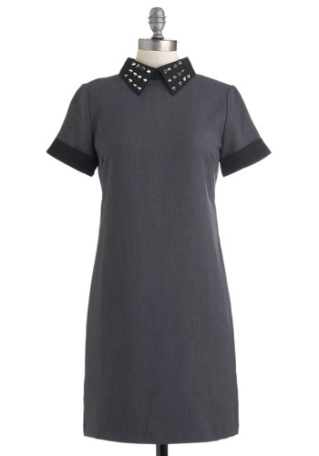Going Stud-y Dress - Grey, Black, Studs, Casual, Shirt Dress, Short Sleeves, Fall, Mid-length, Scholastic/Collegiate, Collared, Mod