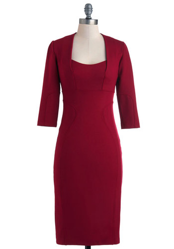 Everyday Dynamo Dress - Long, Red, Solid, Work, Pinup, Sheath / Shift, 3/4 Sleeve, Winter, Holiday Party, 50s