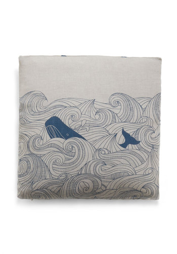 Swell Acquainted Pillow - Blue, Nautical, Dorm Decor, White, Novelty Print
