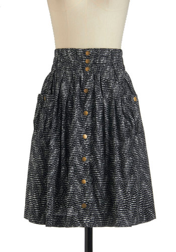 Pattern Back Time Skirt - Black, White, Buttons, Pockets, Mid-length, Cotton, Casual, Vintage Inspired