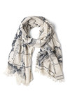 Mercator to Your Tastes Scarf - White, Blue, Casual, Urban, Travel