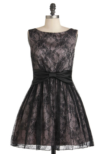 Shimmer and Shade Dress - Pink, Black, Print, Bows, Lace, Party, A-line, Sleeveless, Prom, Vintage Inspired, 50s, Holiday Party, Cocktail, Boat, Fit & Flare