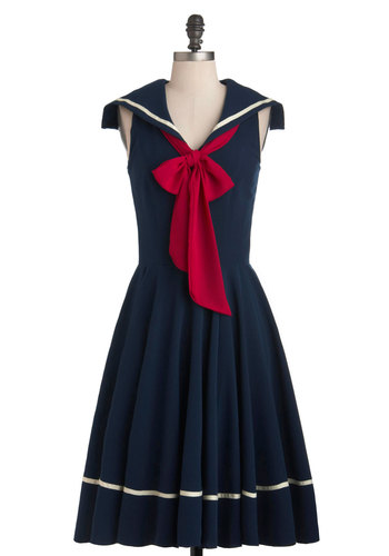 Sea Shanty Singing Dress in Navy - Blue, White, Pleats, Nautical, A-line, Tie Neck, Long, Red, Sleeveless, Spring, Collared, Fit & Flare, Solid, 50s, 60s, Pinup, Casual, Exclusives, Variation