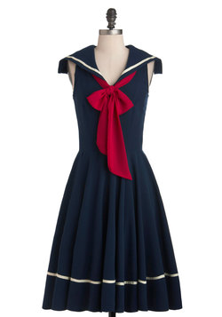 Sea Shanty Singing Dress in Navy