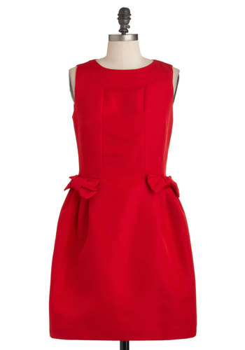 Haute to Fox Trot Dress - Red, Solid, Bows, Party, Sleeveless, Mid-length, A-line, Cocktail, Holiday Party
