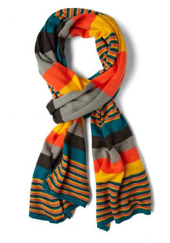 Snappy Snuggle Scarf - Multi, Stripes, Orange, Yellow, Green, Blue, Winter