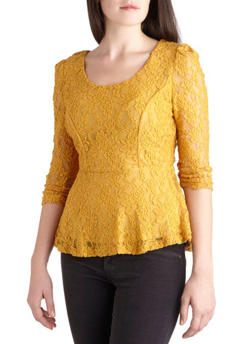 A-maize in Lace Top - Yellow, Lace, Vintage Inspired, 3/4 Sleeve, Ruching, Peplum, Mid-length, Sheer, Party, Work