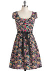 Sweet Offering Dress - Multi, Print, Buttons, Casual, Shirt Dress, Cap Sleeves, Belted, Cotton, Mid-length, Multi, Fit & Flare, Quirky