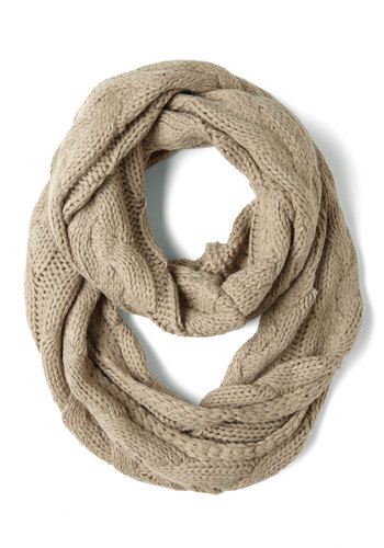 Aesops Cables Scarf - Tan, Winter, Knitted