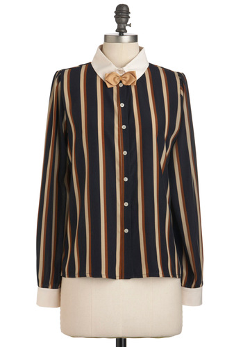 Temp to Hire Top by Miss Patina - Mid-length, Multi, Blue, Brown, Tan / Cream, Stripes, Bows, Buttons, Long Sleeve, Work, Menswear Inspired, Scholastic/Collegiate, Fall, Button Down, Collared
