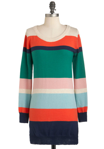 Hued Success Sweater - Multi, Stripes, Long Sleeve, Cotton, Long, Casual