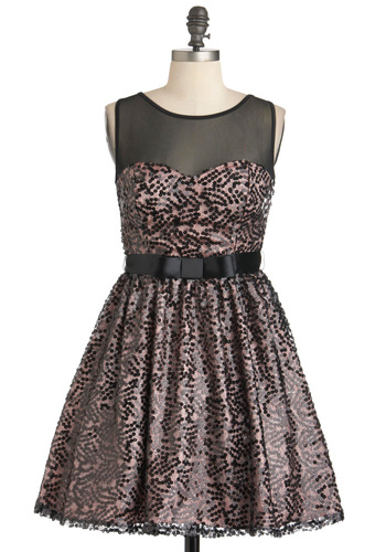 Onyx Opulence Dress - Pink, Black, Sequins, Party, Sleeveless, Sheer, Bows, Belted, Cocktail, Holiday Party, Fit & Flare, Sweetheart