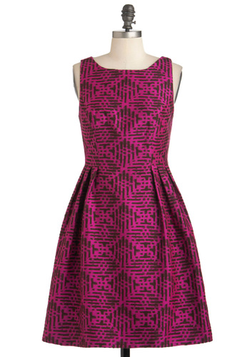 Rock the Block Print Dress by Eva Franco - Pink, Print, Party, A-line, Sleeveless, Mid-length, Brown, Cocktail, Vintage Inspired, Luxe