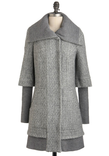 Belle Choir Coat - Grey, Solid, Pockets, Long Sleeve, 3, Long