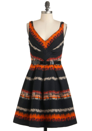 As Dusk Settles Dress by Eva Franco - Multi, Orange, Black, White, Print, Party, A-line, Tank top (2 thick straps), Mid-length, Belted, Fall, Vintage Inspired, 50s, Coral, Fit & Flare, V Neck