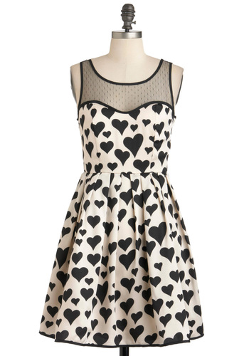 Heart Over Heels Dress - Mid-length, Tan / Cream, Black, Novelty Print, Party, A-line, Tank top (2 thick straps), Sheer, Fit & Flare, Sweetheart, As You Wish Sale, Gifts Sale, Valentine's