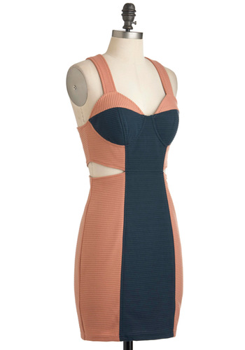 Chic Peek Dress - Short, Orange, Blue, Cutout, Exposed zipper, Girls Night Out, Colorblocking, Bodycon / Bandage, Tank top (2 thick straps)