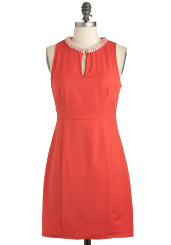 Because I Carrot Dress - Orange, Solid, Beads, Party, Sheath / Shift, Sleeveless, Short, 60s, Mod, Cocktail, Coral