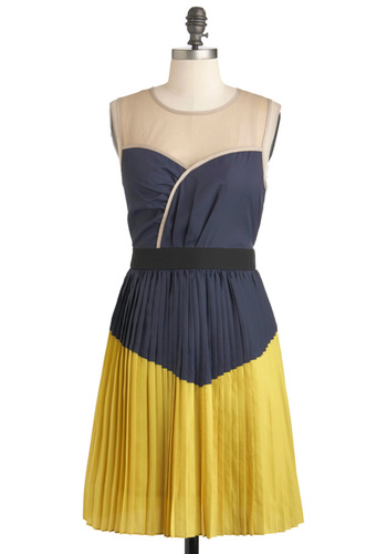 Turn the Pleat Around Dress by Ryu - Multi, Yellow, Blue, Tan / Cream, Pleats, Party, A-line, Sleeveless, Sheer, Mid-length
