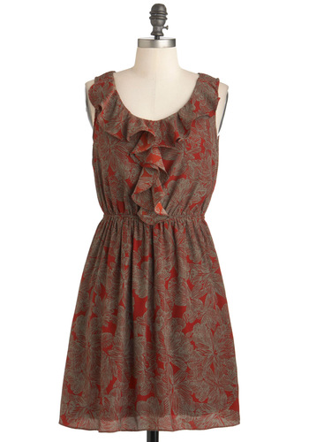 Cinnamon Bark Dress - Tan, Red, Print, Ruffles, Casual, Sleeveless, Mid-length, A-line, Tis the Season Sale