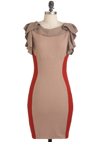 Ful-frill Your Destiny Dress - Tan, Red, Ruffles, Party, Vintage Inspired, Short Sleeves, Mid-length, Bodycon / Bandage, Girls Night Out, Colorblocking