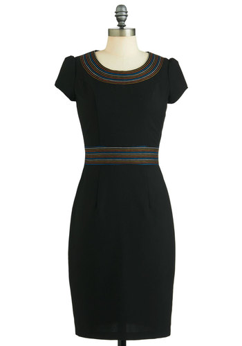 On the Bright Path Dress - Long, Black, Work, Shift, Short Sleeves, Fall, Party