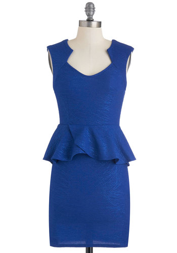 Cobalt Brilliance Dress - Blue, Solid, Sleeveless, Peplum, Short, Party, Cocktail
