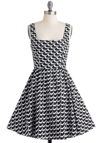 Hound Sleuth Dress - White, Print with Animals, Party, Tank top (2 thick straps), Fit & Flare, Black, Cotton, Woven, Mid-length, Quirky, Critters, Top Rated