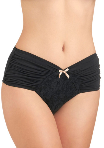 Just as Sweet Undies in Noir - Black, Tan / Cream, Solid, Bows, Lace, Ruching, Pinup, Vintage Inspired, Variation, Boudoir
