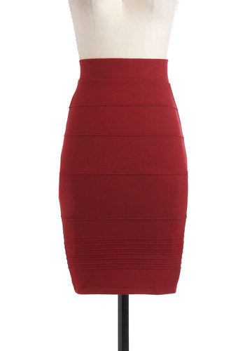 Brick and Mortar Skirt - Red, Solid, Pencil, Mid-length, Party, Work, Pinup, Vintage Inspired, Bodycon / Bandage
