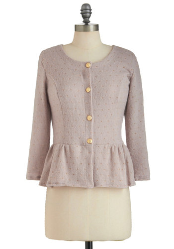 The Power Brunch Cardigan - Mid-length, Pink, Gold, Polka Dots, Buttons, Party, Peplum, Long Sleeve, Work, Vintage Inspired, Button Down