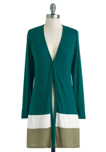 Afternoon in Asheville Cardigan - Green, Blue, White, Stripes, Buttons, Long Sleeve, Casual, Rustic, Fall, Colorblocking, V Neck