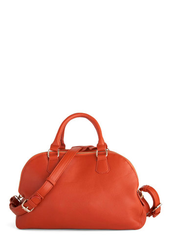 Purse-simmon Perfect Bag - Orange, Solid, Exposed zipper, Casual, Vintage Inspired, Minimal, Faux Leather
