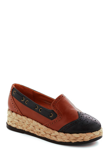 Chairman of the Boardwalk Wedge - Wedge, Blue, Tan / Cream, Casual, Menswear Inspired, Vintage Inspired, Fall