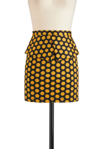 Bin-go Getter Skirt - Short, Yellow, Polka Dots, Peplum, Party, Urban, Multi, Black, Vintage Inspired, 80s