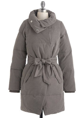 Thunder Ahead Coat - Long, Grey, Solid, Pockets, Belted, Long Sleeve, 4, Casual, Winter
