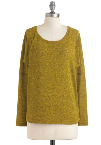 Tried and Chartreuse Top - Solid, Long Sleeve, Green, Mid-length, Travel, Long Sleeve, Fall, Green, Top Rated