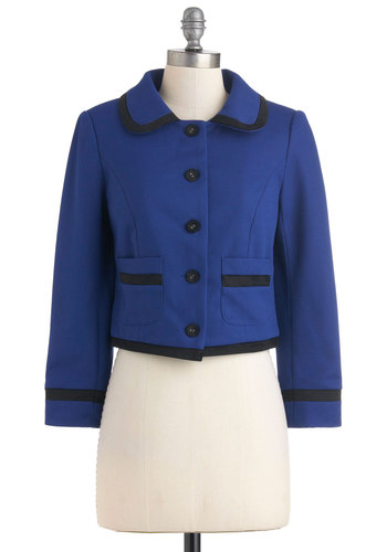 It's a Candidate Jacket - Blue, Black, Buttons, Pockets, Long Sleeve, 1, Work, Scholastic/Collegiate, Fall, Short