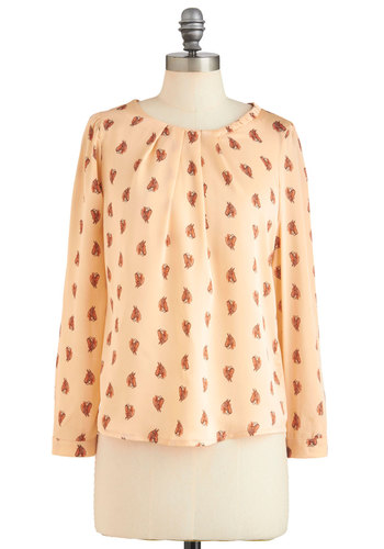 Chain of Foals Top - Cream, Brown, Buttons, Long Sleeve, Print with Animals, Mid-length