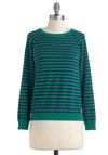 Blue Ring Special Sweater in Green - Green, Blue, Stripes, Buttons, Long Sleeve, Mid-length, Casual, Menswear Inspired, Fall, Variation, Crew