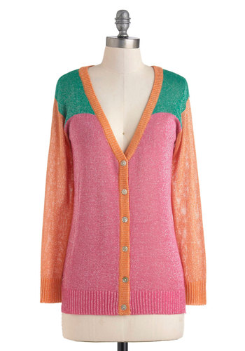 Sparkliest in Seminar Cardigan - Pink, Orange, Green, Buttons, Casual, Long Sleeve, Mid-length, Colorblocking, Glitter, Sheer, Button Down, V Neck