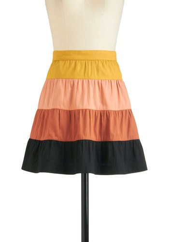 A Welcome Change Skirt - Short, Cotton, Multi, Orange, Yellow, Stripes, A-line, Casual, Tis the Season Sale