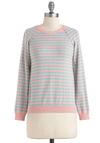 Blue Ring Special Sweater in Pink - Pink, Stripes, Buttons, Long Sleeve, Cotton, Mid-length, Casual, Pastel, Variation, Crew